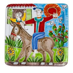 Featuring a charming hand painted scene of a country donkey ride, the hand crafted decorative DS Square Plate is a fine piece of ceramic craftsmanship. Square Plates, Donkey, Vibrant Colors, Decorative Plates, Scene, Pottery, Hand Painted, Ds, Country