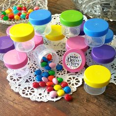 30 Plastic Jars 7/8oz Containers FUN Caps Party Favors candy nuts DecoJars 4304 #DecoJars