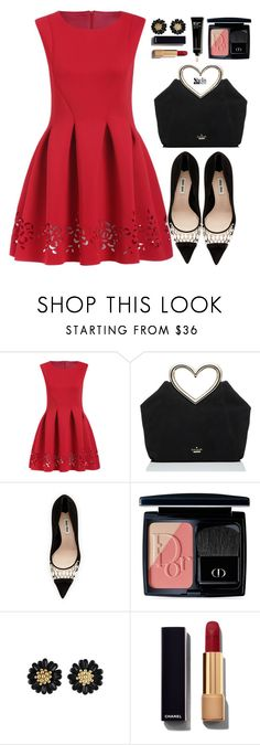 """Sweet Red Dress"" by mycherryblossom ❤ liked on Polyvore featuring Kate Spade, Miu Miu, Christian Dior, Chanel, Bobbi Brown Cosmetics, women's clothing, women, female, woman and misses"