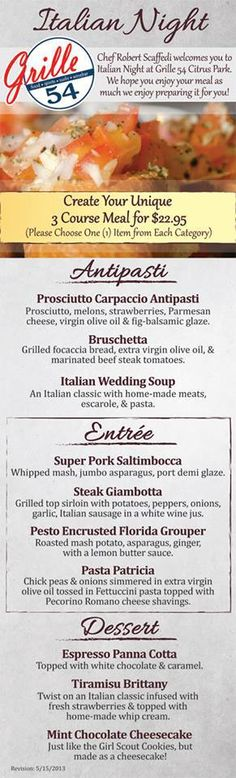 Our new Thursday Night Italian Menu that Fresh Press Studios designed. Download the menu here: http://eatatthegrille.com/wp-content/uploads/2012/07/Grille-54-Thursday-Italian-Night-Menu.pdf