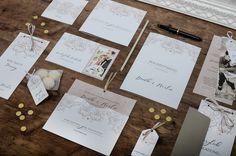 """Kartenserie zur Hochzeit mit eleganten Ornamenten in Rosa und goldenem Herz unserer Hochzeitspapeterie """"Diantha & Marlon"""" - carinokarten"""