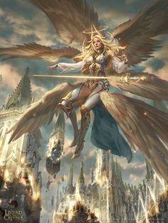LotC:: Restoring Seraphim by Dopaprime – Art Ideas Fantasy Art Women, Dark Fantasy Art, Fantasy Girl, Fantasy Artwork, Fantasy Art Angels, Fantasy Paintings, Fantasy Warrior, Angel Warrior, Fantasy Creatures