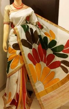 Kerala cotton saree with hand paint work on it
