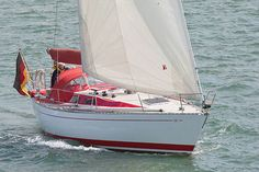 The Contessa yacht 'Loop-over-de-Loft' sailing in the Solent