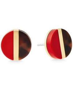 Update your look with these polished colorblocked disc stud earrings by Michael Kors. Available in gold-tone mixed metal with black and sand acetate or tortoise-look and red acetate. Red Earrings, Rose Gold Earrings, Stone Earrings, Stone Jewelry, Shell Jewelry, Shell Earrings, Jewellery, Michael Kors Earrings, Michael Kors Jewelry