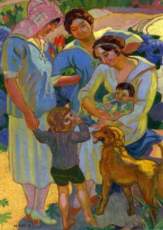 Around a Child with a Dog, 1919 - Maurice Denis (French, 1870-1943) Post-Impressionism