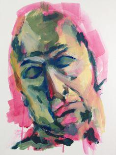 Portrait of man in acrylic on carton by Mary-Jean Dudok de Wit.
