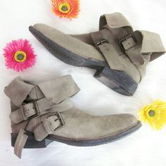 Suede leather fold-over boots Suede leather fold-over buckled boots. New! New with partial tags.  Sandy colored suede in perfect condition.  Double buckle details. Mng brand by mango.  Bundle for best deals! Hundreds of items available for discounted bundles! You can get lots of items for a low price and one shipping fee!  Follow on IG: @the.junk.drawer Mango Shoes Ankle Boots & Booties