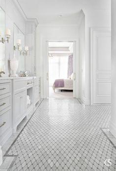 Marble Bathroom Floor, White Marble Bathrooms, White Master Bathroom, Modern Master Bathroom, Small Bathroom, Bathroom Gray, Bathroom Ideas, Bathroom Cost, Condo Bathroom