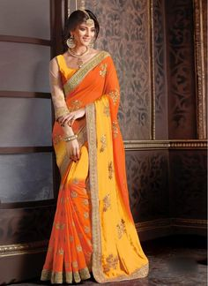 Yellow and Orange Faux Georgette Embroidered Fabulous Designer Saree