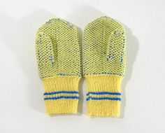 Hand Knitted Mittens  Yellow and Blue Size by UnlimitedCraftworks