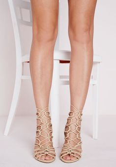 Missguided - Rope Lace Up Heeled Sandals Nude