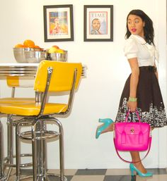Kate Spade outfit in a retro kitchen