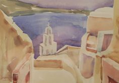 This is an original Sidney Fort watercolour titled 'Greek Island water view over Town'. Sidney Fort Sidney had a lifelong love affair with water colours. Fort joined the Nine Network as senior set designer in Australian Artists, Watercolour, Greek, Colours, Sea, Island, The Originals, Painting, Design