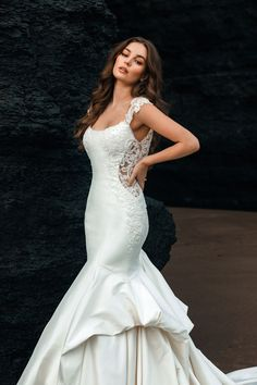 This Ariel-inspired gown with its modern mermaid silhouette, luxurious stretch Mikado and understated shimmer emulates the ebb and flow of the ocean's tide. The fun and flirty beadwork and cutouts give a splash of the unexpected. Wedding Dress Sizes, Designer Wedding Dresses, Wedding Gowns, Disney Inspired Wedding Dresses, Ariel Dress, Bridal And Formal, Wedding Dress Shopping, Dress Collection