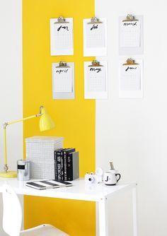 » MY WORKSPACE   Yellow Stripe Wall