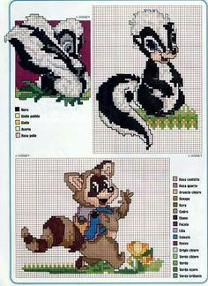 Bambi skunk and raccoon Cross Stitch Fabric, Cross Stitch Baby, Cross Stitch Animals, Cross Stitch Charts, Cross Stitching, Cross Stitch Embroidery, Disney Cross Stitch Patterns, Counted Cross Stitch Patterns, Cross Stitch Designs