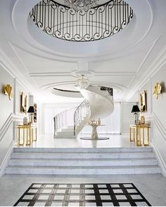 100 Best Interior Designers by Boca do Lobo and Coveted Magazine – Decorating Foyer Diy Home Decor Rustic, Elegant Home Decor, Elegant Homes, Entryway Decor, Modern Entryway, Luxury Staircase, Staircase Design, Foyer Staircase, Best Interior