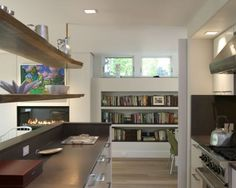 Edgy guest house, cool shelves