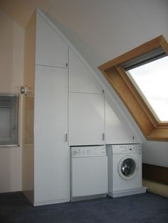 Laundry Cupboard, Laundry Room, Interior Design Living Room, Living Room Decor, Attic Renovation, Sustainable Design, Washing Machine, Home Improvement, Home Appliances