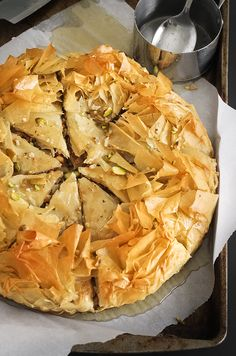 Salted Greek Honey Nut Pie from Greek Desserts, Greek Recipes, Just Desserts, Dessert Blog, Pie Dessert, Dessert Recipes, Cheesecakes, Sorbets, Sweet Pie