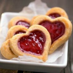 "91-Calorie Almond & Jam Cookies: Little ""thumbprint"" hearts are adorable for Valentine's Day! 