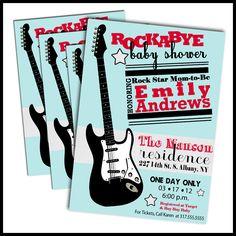 Rock Abye Baby Shower Invitations- Rock Star - Rock n Roll Baby Shower. $18.00, via Etsy.