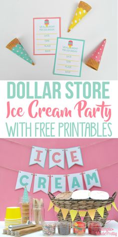 Summer Ice Cream Party Using Dollar Store Items & Free Printables This ice cream party bar was really cheap to put together for my daughter's birthday! I used her Dollar Store hacks and you would never know how inexpensive our ice cr Sundae Bar, Summer Ice Cream, Diy Ice Cream, Cream Cream, Sprinkles, Party Checklist, Ice Cream Social, Dollar Store Hacks, Dollar Stores