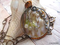 Moonstone Pearl Necklace, Mermaid Shell Jewelry, Blister Shell Necklace, Wire Wrap, Copper Chain, Opera Length, Choker, Convertible Jewelry by MoonstoneMary on Etsy https://www.etsy.com/listing/24400951/moonstone-pearl-necklace-mermaid-shell