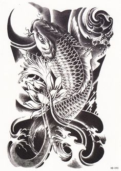 DaLin Temporary Tattoo, 4 Same Sheets (Koi Fish)