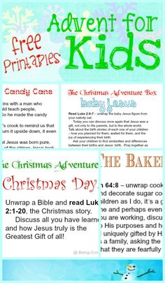 Simple, flexible advent for kids! Free printables for the Christmas Adventure Box - a kid-friendly advent activity for the whole family.  Useful for family time, homeschool, church, AWANA, youth group, etc. from Being Confident of This