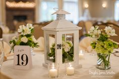 Beautiful centerpiece in the Celebrations Ballroom at Sand Springs Country Club. The best wedding venue!