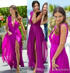 2014 Cheap Sexy Deep V Neck Light Skirt Chiffon Prom Dresses Floor Length High Front Split Beach Prom Gowns with Pleats
