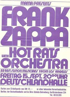 Frank Zappa with Hot Rats Orchestra - Deutschlandhalle, Berlin, Germany, September 15, 1972