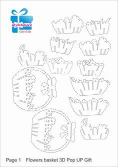 Flowers basket 3D Pop UP Gift/ kirigami pattern