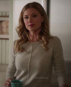 Emily's light grey sweater on Revenge.  Outfit Details: http://wornontv.net/12171/ #Revenge