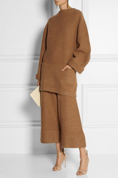 Acne Studios | Depend cropped boiled wool wide-leg pants and top