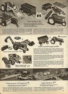 Toy Tractors in Montgomery Ward Christmas Catalog, 1968, by Wishbook, via Flickr
