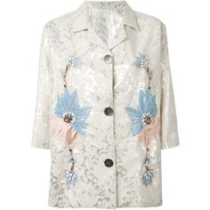 Antonio Marras embroidered blazer (27 895 UAH) ❤ liked on Polyvore featuring outerwear, jackets, blazers, silver, print jacket, floral-print blazers, antonio marras, embroidery jackets and embroidered jacket