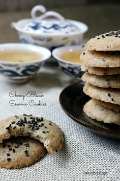 Chewy Black Sesame Cookies/ VEGAN/ GLUTEN-FREE/ DELIGHTFUL with a CUP of TEA/Coffee/ http://bamskitchen.com