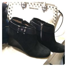 Beautiful Black MK Booties This booties are super comfy and can be worn with anything they are black with silver accents, bought them but my closet it's just full of black shoes..lol MICHAEL Michael Kors Shoes Ankle Boots & Booties