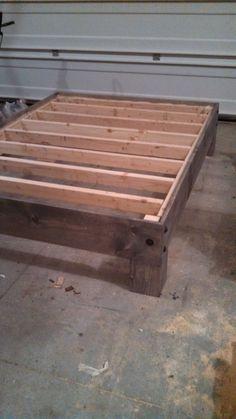 DIY Platform Bed & Salvaged Door Headboard {part three} - Bett Best Wood For Furniture, Diy Furniture Projects, White Furniture, Furniture Plans, Furniture Design, Diy Bett, Boys Bedroom Furniture, Diy Bedroom, Diy Bed Frame