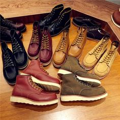 Vintage Men Boots Lace-Up Genuine Leather Boots Wing Men Handmade Work  Travel Wedding Ankle Boots Casual Fashion Red Boots 875 ed1c070baf7c3