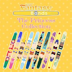 The Princess Collection Decals to decorate Disney Magic Bands! www.myfantasybands.com