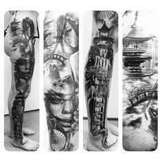 【jeanettefjelldahl】さんのInstagramをピンしています。 《Got to finish up this Super great project yesterday!  All done by me except the dragon .. and all healed except the waterfall on leg. #tattoo #ink #supplydivision #iqtattoocare #tattooed #blackandgrey #tattooer #stavangersentrum #face #realistic #bridge #architecture #geisha #woman #beautiful #cherryblossoms #cherryblossomtree #waterfall #art_collective #artspipl #arte #inkedup #tattoooftheday #instaart #artist #nawden #privateinkcustomtattoo…