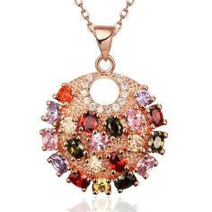 Now Available on our Store:Rose Gold Plated Fully Loaded Rainbow Crystal Necklace