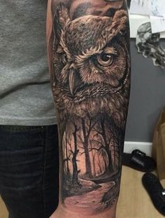 Owl Tattoo Back, Owl Forearm Tattoo, Mens Owl Tattoo, Half Sleeve Tattoos Forearm, Leg Sleeve Tattoo, Tattoo Sleeve Designs, Forearm Tattoos For Guys, Watercolor Owl Tattoos, Owl Tattoo Drawings