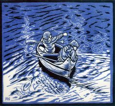 WAITING FOR FISH 26 X 28.5 CM  EDITION OF 50 PIGMENT PRINT FROM A REDUCTION LINOCUT ON HANDMADE JAPANESE PAPER $500