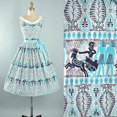 Vintage 50s Novelty Print Dress / 1950s EGYPTIAN PHARAOH