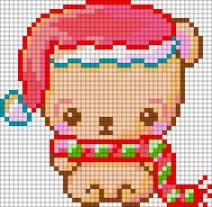 Christmas Bear Perler Bead Pattern | Bead Sprites | Holidays Fuse Bead Patterns